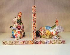 Decoupage rabbit bookends / handmade decorative animal