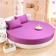 3-Pieces Solid Color 100% Cotton Round Fitted Sheet Set Round Bed Sheet Bedding Set Customizable Mattress Topper 200cm 220cm