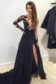 Long sleeve Prom Dress, lace Prom Dress, Black Prom Dress, Prom Dress, Custom Prom Dress Dresses Near Me Prom Dresses 2016, Prom Dresses Long With Sleeves, Black Prom Dresses, Cheap Prom Dresses, Sexy Dresses, Formal Dresses, Prom Gowns, Party Dresses, Lace Dresses