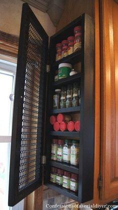 Add Spice rack somewhere = Frugality Gal: 14 Frugal Kitchen Organizing Ideas Organizing Hacks, Spice Organization, Makeup Organization, Makeup Storage, Camping Organization, Bedroom Organization, Cabinet Spice Rack, Spice Racks, Cabinet Storage