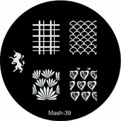 "MASH Nail Art Stamp Stamping Image Plate No 39 by MASH. $2.99. Competitors single plates retail for up to $8.00. MASH nail art image plate scraper & stamper set sold separately. Each plate measures about 1.8"" (5.5cm in diameter). Mash Nail Art Image Plate number 39 has five unique designs including a Unicorn and four full nail patterns.. Has sanded edges and paper backing for easy, comfortable, and safe handling along with protective nylon screen. The hottest n..."