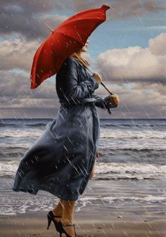 Walking in the Rain Under the Red Umbrella Walking In The Rain, Singing In The Rain, Rain Gif, Foto Gif, I Love Rain, Rain Days, Images Gif, Umbrella Art, Beautiful Gif