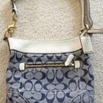 Coach Designer Signature C Pattern Medium Denim And White Leather Trim Handbag Shoulder Bag Authentic Classy Brand Description