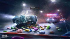 Case: Don't Play & Drive カタールで交通安全啓発団体の「Roads For Life」が実施したプリント広告をご紹介。  中東では驚くべきことに、スマホのゲームをしながら