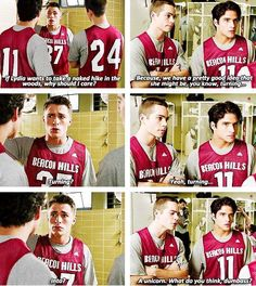 """A unicorn. What do you think dumbass?"". So funny, haha. I love Dylan O'Brien <3 (Teen Wolf)"