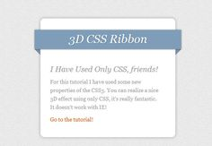 Create 3D Ribbons Using CSS3 Only – Tutorials And Example