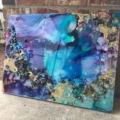 ✖️SOLD✖️ alcohol ink painting mounted on a wooden board, coated with a layer of resin with added crystals and embellishments 🤩🤓 of course a rogue hair made its way into this while it was curing, so I'll have to sand it off and paint a thin layer o Alcohol Ink Painting, Alcohol Ink Art, Acrylic Pouring Art, Acrylic Art, Flow Painting, Pour Painting, Resin Artwork, Resin Paintings, Epoxy Resin Art