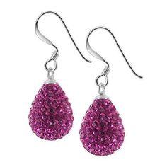Gem Avenue 925 Sterling Silver Teardrop Fuchsia Color Studded French Hook Drop Earrings, Women's, Size: 0.5 Inches, Pink