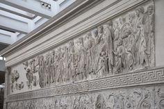 South procession and the upper part of the great vegetal frieze. Rome, Altar of Augustan Peace (Ara Pacis Augustae).