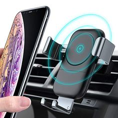 S10e S9 S8 S7 Samsung Galaxy S10 S10 FireKylin Cell Phone Holder for Car Universal Gravity Auto-Clamping Air Vent Mount with Tempered Glass Compatible with iPhone 11 Pro XR Xs Max Xs X 8 7 6 Plus
