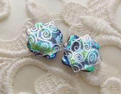 Blue Green Earrings  Post Earrings  Glass by GalaxyGlassStudio, $10.00