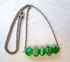 Green lampwork and crystal bead necklace by WhimsicalSoulDesign