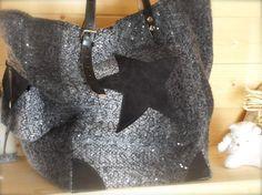 Sac cabas en lainage pailleté noir , grisé