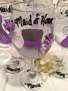 Bridesmaid Wedding Wine Glasses Hand Painted by KyGirlShop on Etsy, $48.00