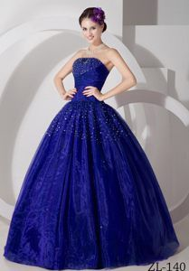 Beaded Sweetheart Simple Royal Blue Dress for Quinceanera in Tulle