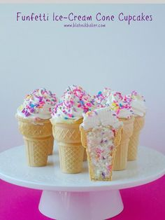 Funfetti ice cream cone cupcakes will be your new favorite summer treat! Fluffy, moist vanilla cupcakes are baked in ice cream cones and topped with whipped vanilla bean frosting. via Blahnik Baker Cake In A Cone, Ice Cream Cone Cake, Ice Cream Cupcakes, Ice Cream Party, Icecream Cone Cupcakes, Fun Fetti Cupcakes, Simple Cupcakes, Moist Vanilla Cupcakes, Vanilla Bean Frosting