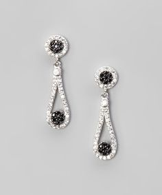 Take a look at this Black Cubic Zirconia & Silver Ball Teardrop Earrings by Beverly Hills Silver on #zulily today!