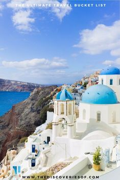 Santorini, Greece. 100 unique travel bucket list ideas - the ultimate list of things to do and places to see in your lifetime. Read the full guide now. See the world, embrace adventure, satisfy your wanderlust. United States I England I Australia I Canada I Travel Inspiration I Photos I Dreams I Ideas #travel #bucketlist #travelinspiration #wanderlust