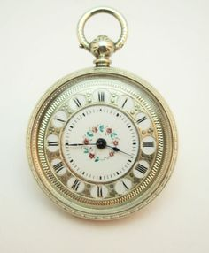 33b2df2ce C1900, ANTIQUE SWISS SOLID SILVER LADIES POCKET WATCH, FLORAL ENGRAVED CASE  | eBay