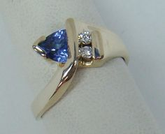 14K YELLOW GOLD RING GENUINE TRILLION 5MM TANZANITE .06 CT TW DIAMOND 4g SZ 4.75 #SolitairewithAccents