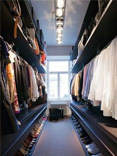 long narrow walk in wardrobe designs with hanging rails and open shelving and shoes storage : Home Walk In Wardrobe Designs. home walk in wardrobe,walk in wardrobe designs,walk in wardrobe ideas,walk in wardrobe interiors,wardrobe walk in design Walk In Closet Design, Closet Designs, Wardrobe Design, Master Closet, Closet Bedroom, Closet Space, Huge Closet, Hallway Closet, Bedroom Small