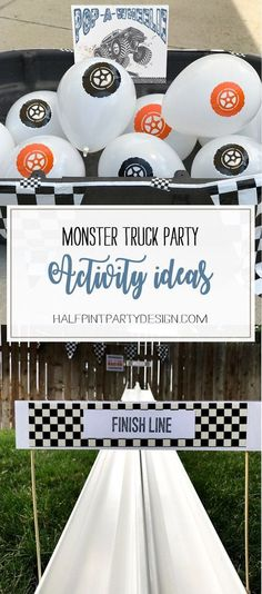 Five great stations for a really fun birthday party. Check out how to create your own. Monster truck party activity ideas - Halfpint Design Festa Monster Truck, Monster Trucks, Monster Truck Birthday, Monster Party, Monster Jam, Birthday Activities, Party Activities, Cars Birthday Parties, 3rd Birthday
