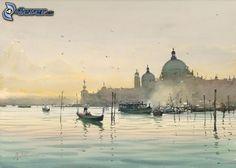 Malerei, Boot, Hafen, Venedig
