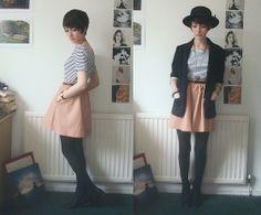 Skirt, Topshop Blazer, Topshop Striped Top, Hat | Honey (by Ashleigh F.) | LOOKBOOK.nu