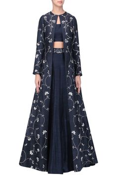 6ce9e1f41a Black embroidered lehenga with jacket set available only at Pernia s Pop Up  Shop.