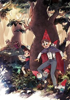 Greg, Mabel, Dipper, and Wirt - Gravity Falls and Over the Garden Wall crossover Gravity Falls Crossover, Gravity Falls Art, Cartoon Shows, Cartoon Art, Garden Falls, Gavity Falls, Bg Design, Fanart, Over The Garden Wall