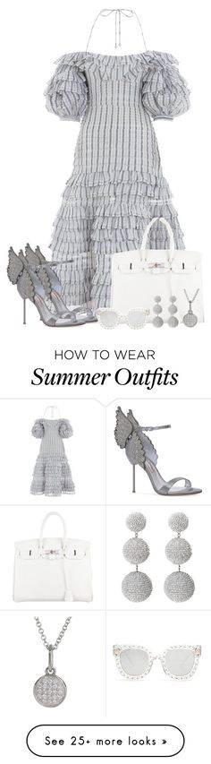 """Summer Outfit 9"" by larycao on Polyvore featuring Zimmermann, Sophia Webster, Hermès, Gucci and Bony Levy"