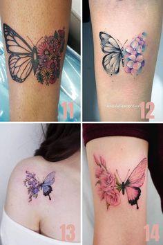 Little Tattoos, Mini Tattoos, Leg Tattoos, Body Art Tattoos, Small Tattoos, Tattoos For Guys, Tatoos, Butterfly With Flowers Tattoo, Butterfly Tattoos For Women