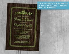Lime Green Vintage Barn Wood Bridal Shower Invitations