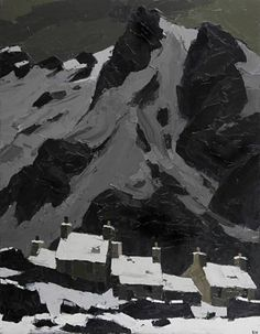 """peira: """" Sir Kyffin Williams: Snow at Gwastadnant """" Contemporary Landscape, Abstract Landscape, Landscape Paintings, Kyffin Williams, Illustrations, Illustration Art, Painting Snow, Painting Art, Black And White Painting"""