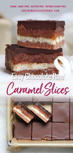 Easy Chocolate No-Bake Caramel Slices (vegan, dairy-free, gluten-free) - Green Smoothie Gourmet Healthy Vegan Desserts, Vegan Dessert Recipes, Vegan Treats, Low Carb Desserts, Healthy Treats, Vegan Food, Vegetarian Recipes, Raw Desserts, Healthy Food