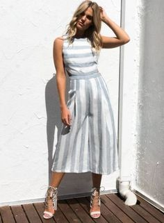 Sleeveless Striped Backless Strappy Wide Leg Jumpsuit novashe.com