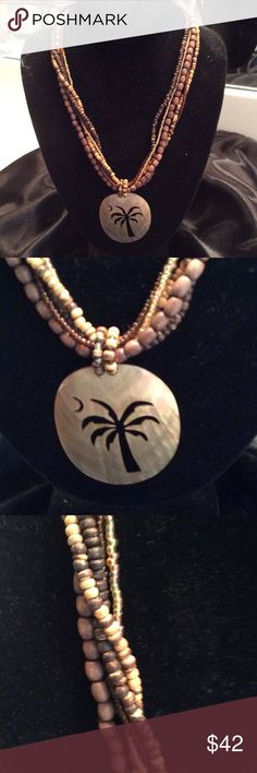 Beautiful Palm agree and Half Moon Necklace Beautiful brown Beaded palm tree necklace. Jewelry Necklaces