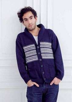 Daniel Cardigan in MillaMia Naturally Soft Merino - Digital Version | Mens Knitting Patterns | Knitting Patterns | Deramores
