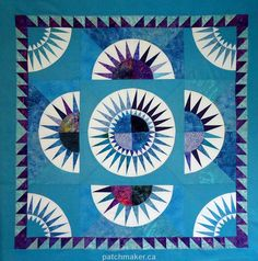 New York Beauty Quilt Top - Ready to Quilt - Wallhanging Size Circle Quilts, Quilt Top, Quilt Blocks, New York Beauty, Mariners Compass, Quilted Wall Hangings, Types Of Art, Paper Piecing, Quilt Making