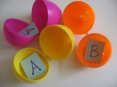 Plastic Egg Crafts & Activities, great idea when babysitting!! Put the letters of the alphabet in the eggs then have the kids put the eggs in the order of the alphabet!! Or spell out words