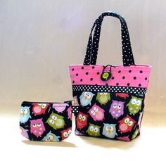 Cute Little Girls Purse Sleepy OWLS Mini Tote Bag and Coin Purse Set Black Hot Pink Lime Handmade MTO