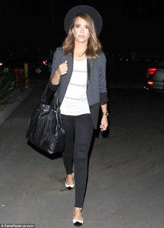 Jessica Alba wearing Twenty Tees Ponte Color Blocked Blazer in Black, dinner in Hollywood October 4 2013