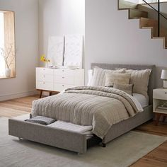 Contemporary Upholstered Storage Bed - Heathered Tweed