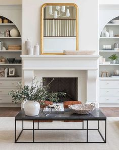 Fireplace Bookshelves, Fireplace Built Ins, White Fireplace, Living Room With Fireplace, Fireplace Design, Fireplace Ideas, French Country Fireplace, Fireplace Furniture Arrangement, Two Story Fireplace