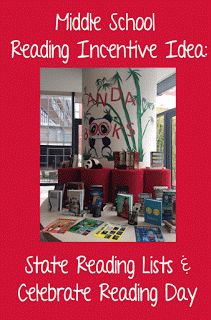 Middle School Reading Incentive Idea: State Reading Lists and Celebrate Reading Day - Mrs. Middle School Books, High School Reading, Middle School Libraries, Middle School Classroom, Elementary Library, Middle School Incentives, Reading Bingo, Star Reading, Reading Day