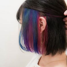 Dark Auburn Hair Color, Ombre Hair Color, Peinados Pin Up, Colored Highlights, Aesthetic Hair, Blue Hair, Hair Inspo, Hair Goals, New Hair