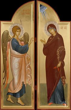 Annunciation of the Theotokos Religious Images, Religious Icons, Religious Art, Byzantine Art, Byzantine Icons, Jesus In The Temple, Russian Icons, Biblical Art, Catholic Art