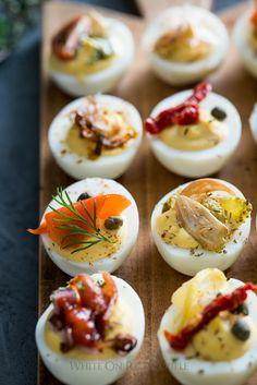 Deviled Eggs Recipe for Deviled Egg Bar Party!   @whiteonrice