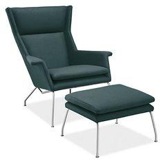 Aidan Chair & Ottoman in Cambridge Fabric - Recliners & Lounge Chairs - Living - Room & Board