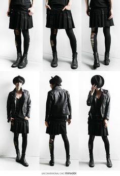 【2013年新作】送料無料・30%off!SALE・[プレミアムエディション]メンズプリーツスカート、ブラックコーティングデニムスカートメンズ、メンズスカート、モード系ボトムスメンズ、ブラックスカートメンズ、スカートメンズ